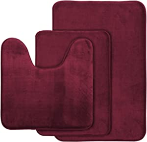 "AOACreations Memory Foam Bath Rug, Bathroom Mat Set of 3, Soft, Plush, Absorbent, Low Pile, Non-Slip, Includes 1 Large 20"" x 32"", 1 Contour 20"" x 20"", 1 Small 16"" x 24"" (Burgundy)"