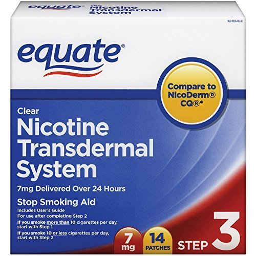 Equate Clear Nicotine Transdermal System  Step Three  7 mg Stop Smoking Aid  Patches, 14-Count Box