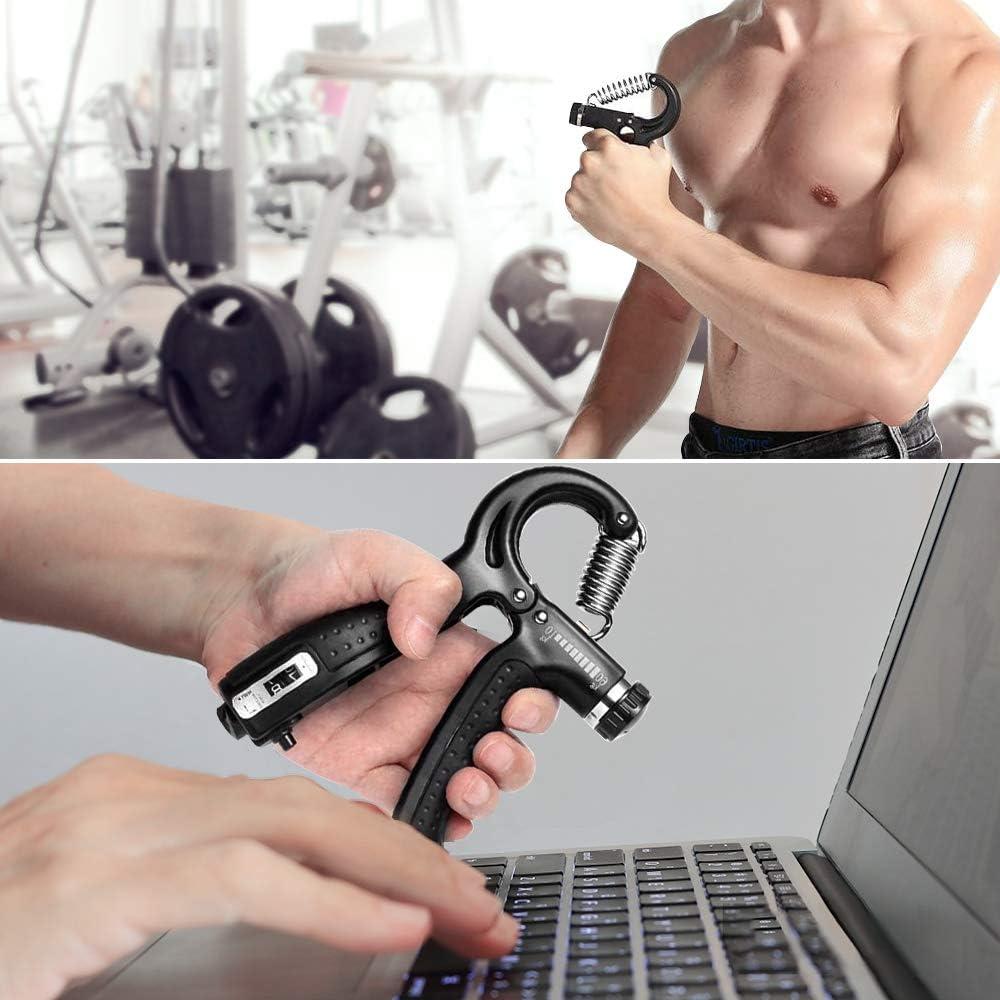 Forearm Grip 10-60KG - Hand Grip Exerciser Gripper Hand Squeezer Hand Exercise Strengthen Grip Eiwoda Hand Grip Strengthener 2 Pack Adjustable Resistance 10-130 lbs Finger Strengthener