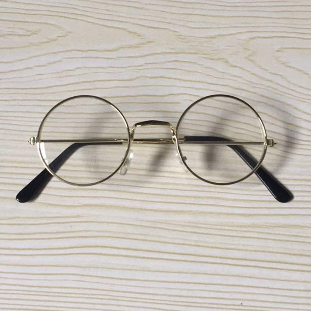 Small Eye Glasses Newborn Baby Photography Props Vintage Classic Round Glasses Metal Frame Eyewear Clear Lens Glasses for 0-12 Months Baby 4.53 x 1.69 Inch