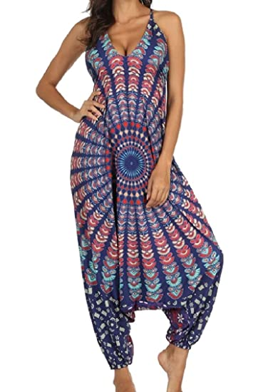 5c3dd0cbe43de Amazon.com: Coolred-Women Printing Yoga Backless Loose Halter Romper  Jumpsuit Pants 3 OS: Clothing