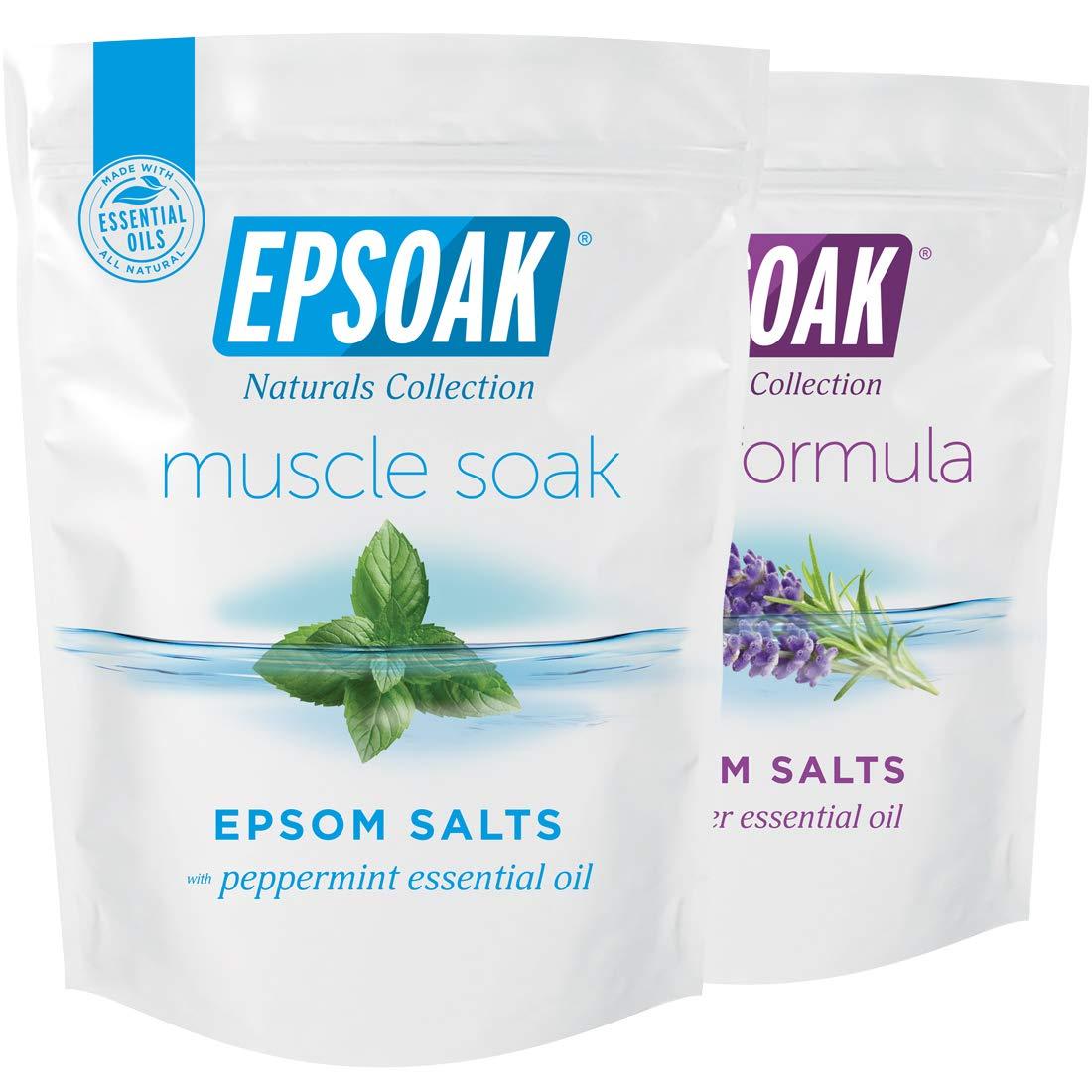 Epsoak Scented Epsom Salt Bundle - Sleep Formula 2 lbs. & Muscle Soak 2 lbs.