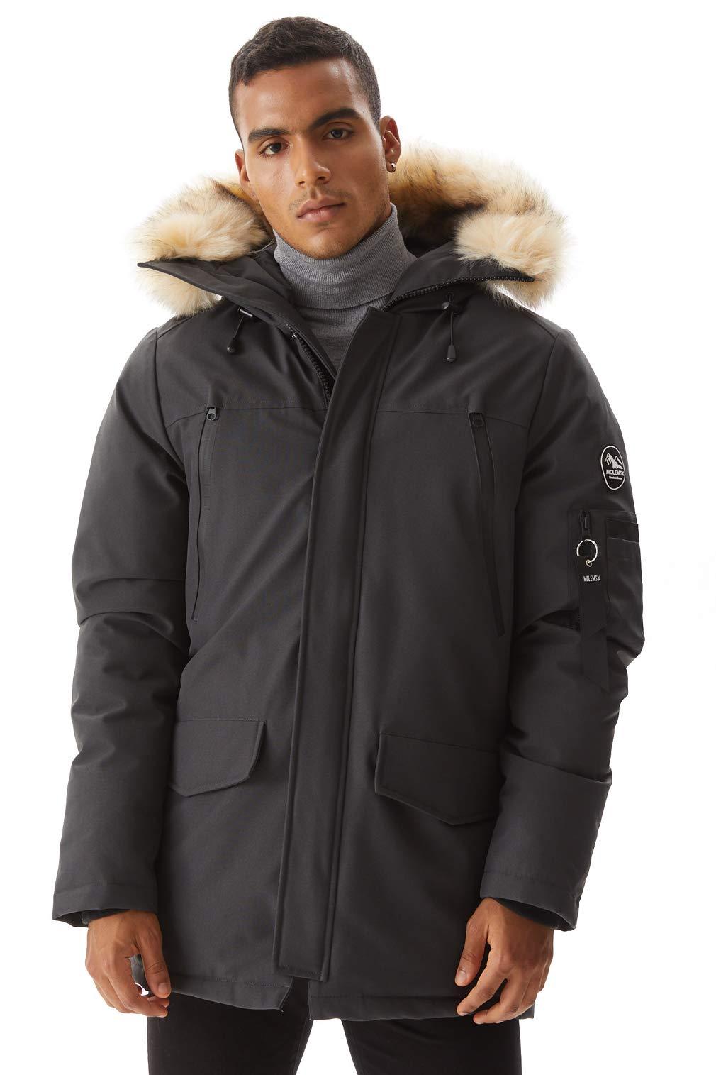 Molemsx Winter Coats for Men, Down Jacket Men Warm Parka Puffer Jacket Winter Down Jacket with Hood Faux-Fur Trim Grey Medium by Molemsx