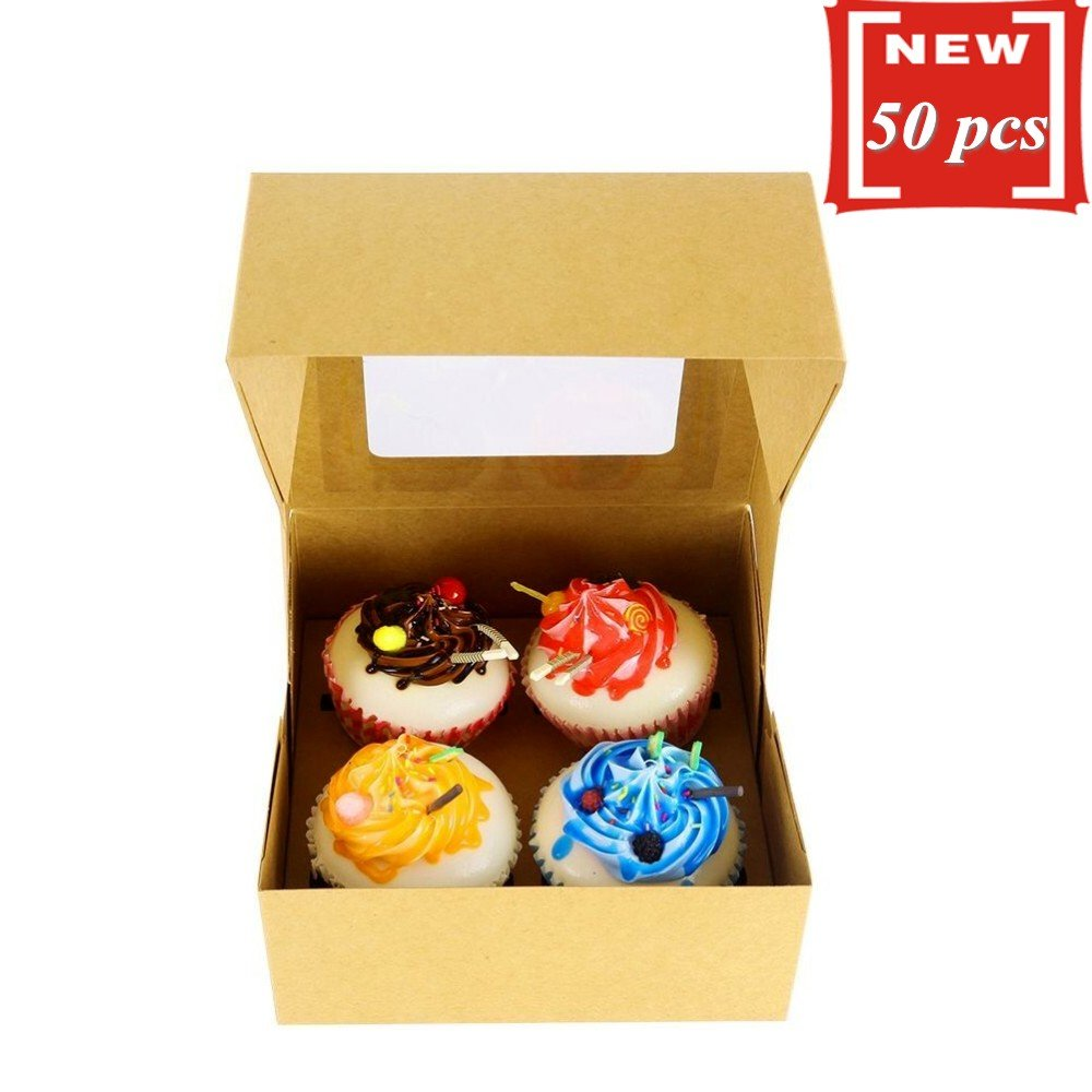 Brown Kraft Paper 4 Cavity Cupcake Box With Insert and Window,Set of 50