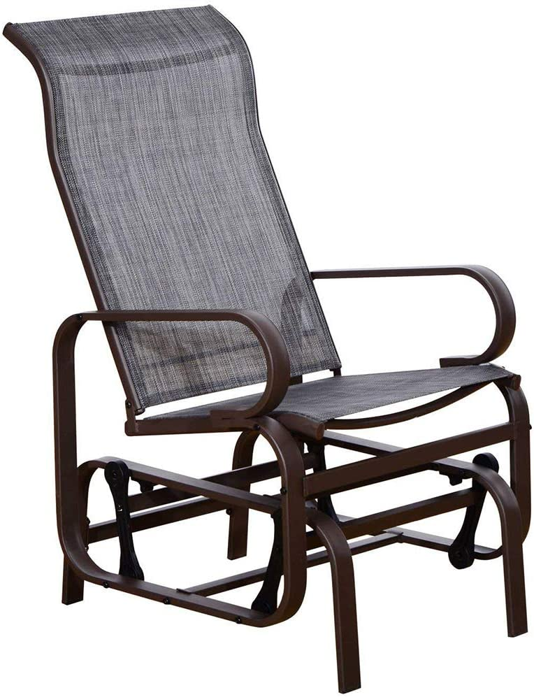 SunLife Patio Glider Rocking Chair, Outdoor Garden Rocker Lounge Chair, Heavy Duty Steel Frame, Taupe Brown Finish, Gray Fabric