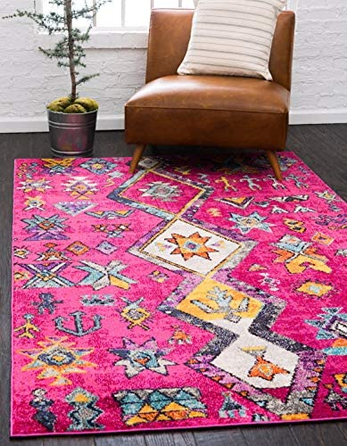 Unique Loom Sedona Collection Abstract Over-Dyed Nomad Pink Area Rug 8 0 x 10 0