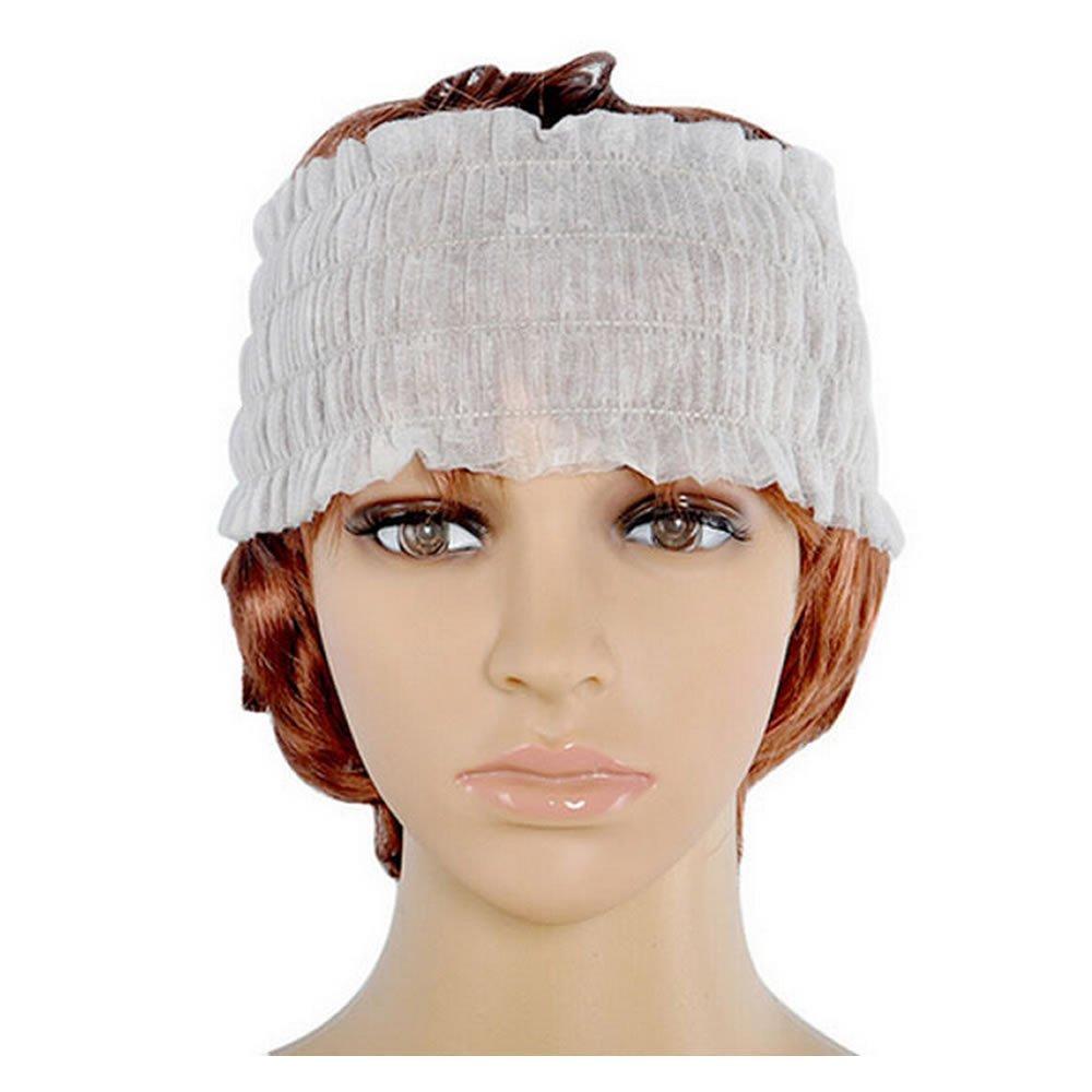 ISKYBOB Set of 100 Disposable Spa Non-woven Headbands, Elastic Salon Makeup Sauna Skin Care Hair Band