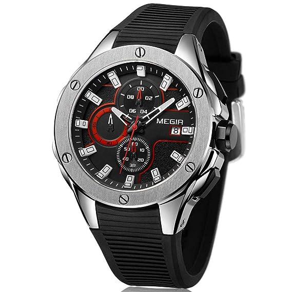Megir - Reloj de Pulsera para Hombre, Deportivo, con Correa de Silicona Negra, cronógrafo, Calendario, Resistente al Agua: Amazon.es: Relojes