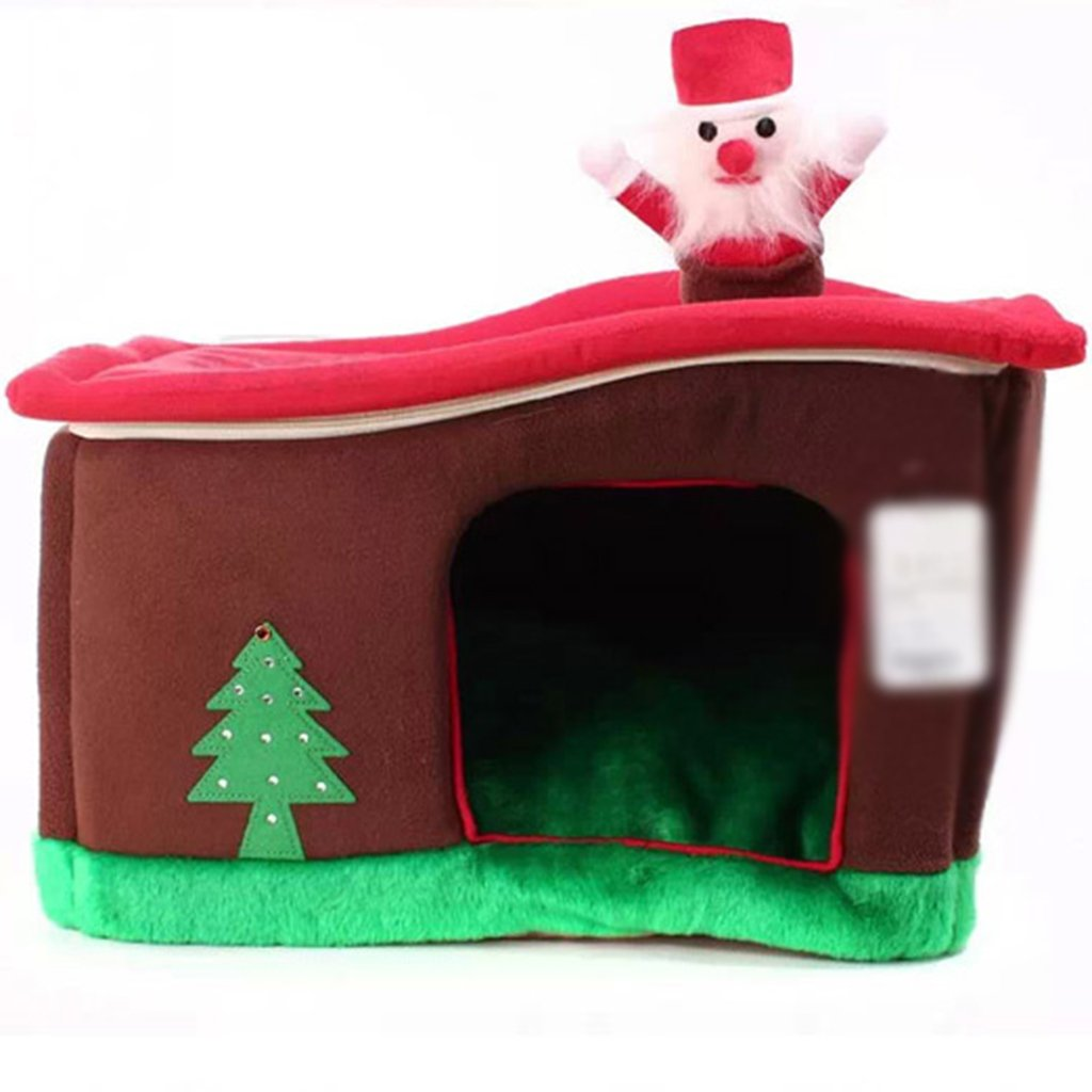 Pet bed Red-brown Christmas house four seasons closed cat litter and kennel 16  11  13 inches