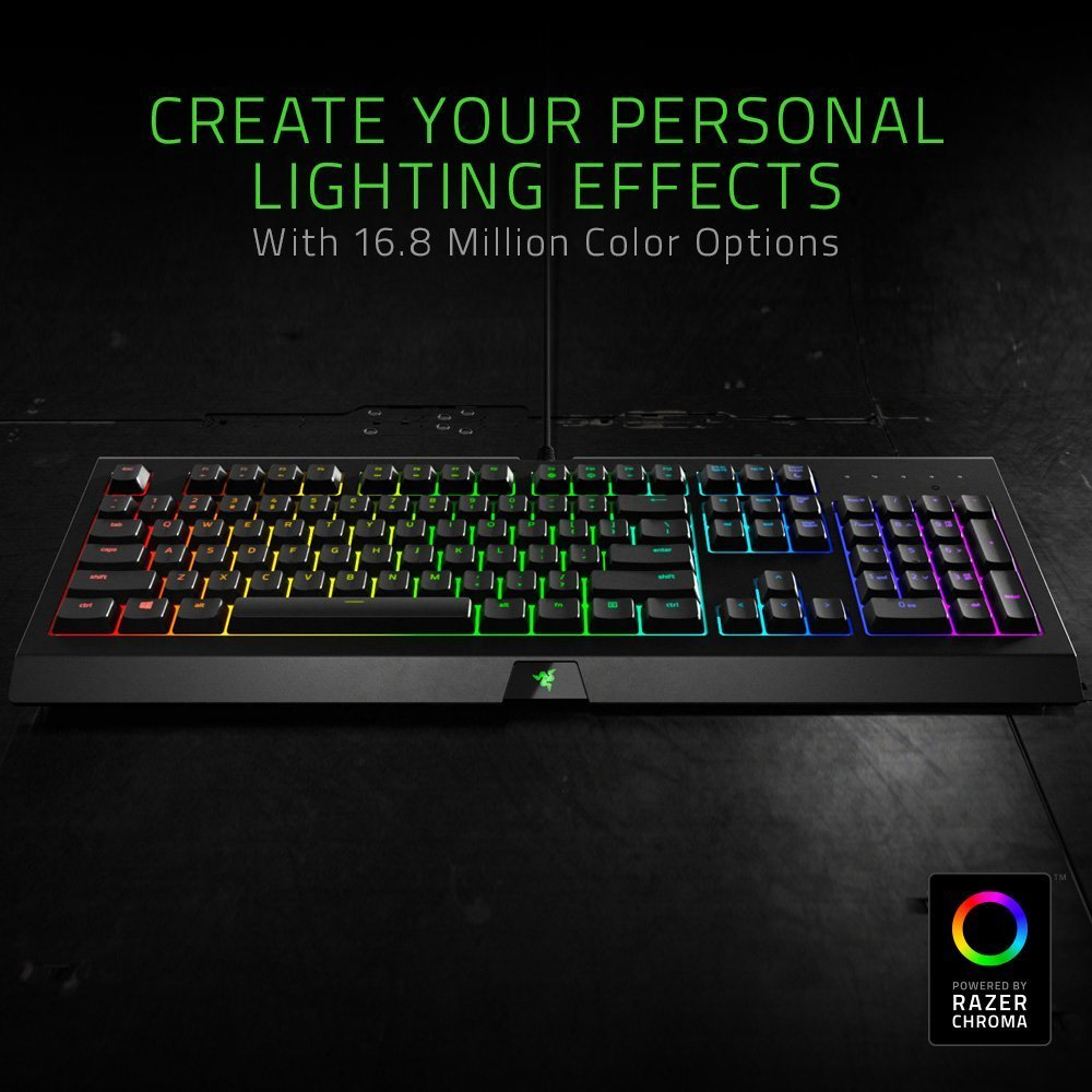 Razer Cynosa Chroma Gaming Keyboard Customizable Chroma RGB Lighting – Individually Backlit Keys – Spill-Resistant Design – Programmable Macro Functionality