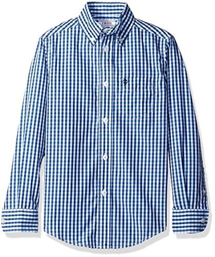 Izod Kids Big Boys' Two Tone Gingham Shirt, Blue, Small