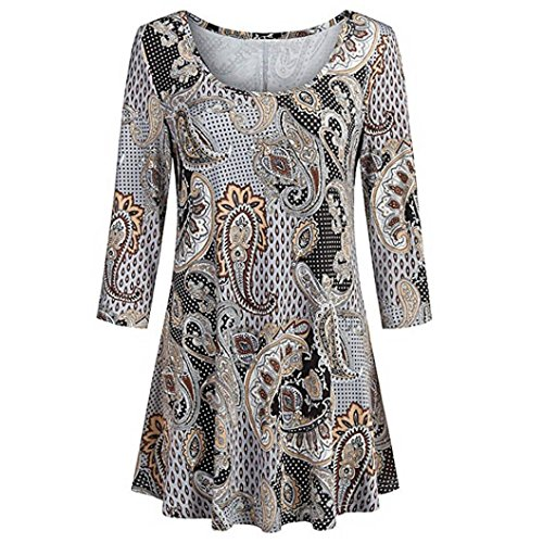 DEATU Womens Fashion O-Neck Casual Floral Print Shirts Cool 3/4 Sleeves Tunic Blouse Tops (L, Brown)