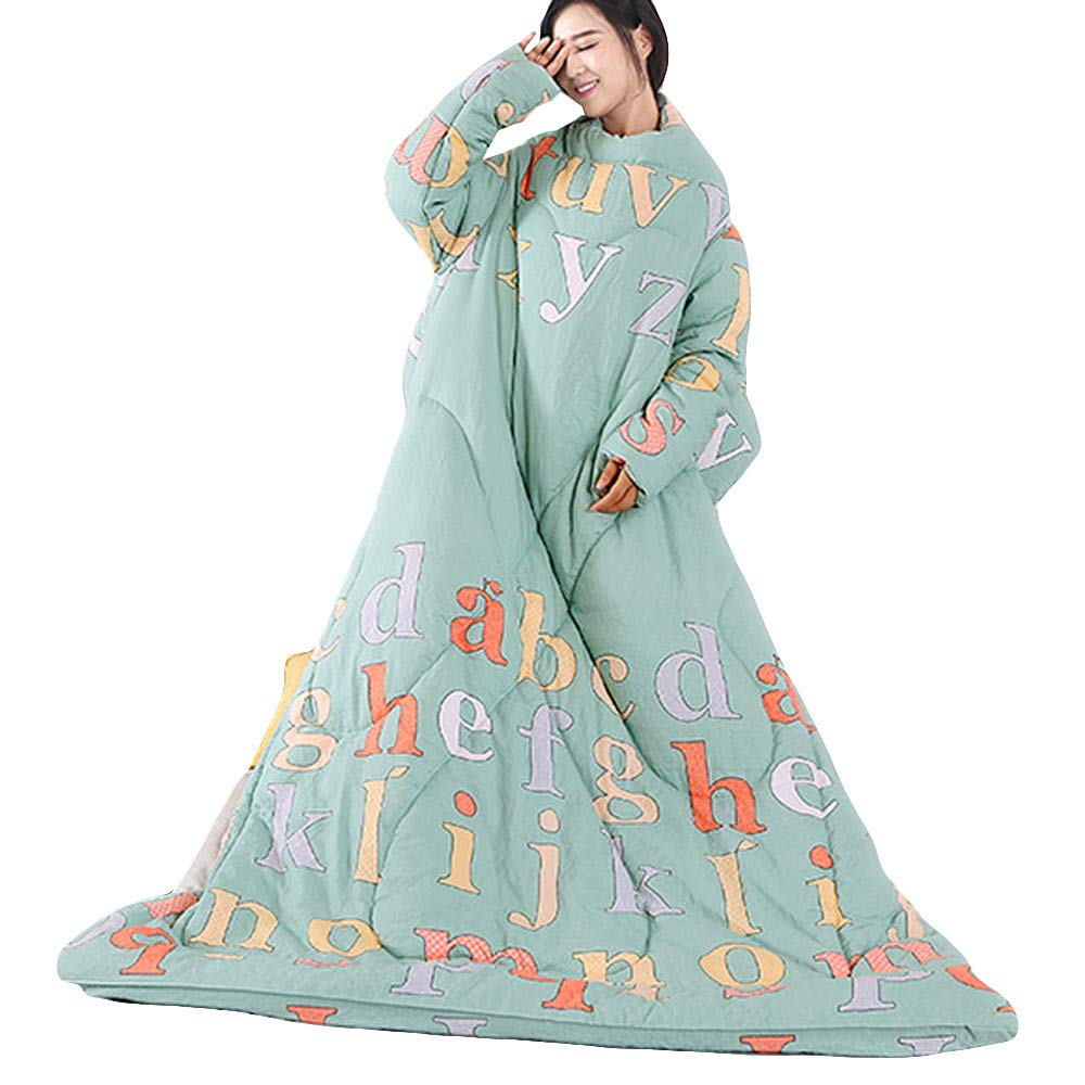 Danhjin Blanket with Sleeves and Pockets, Super Soft Home Adults Wearable Throw Robe (A) by Danhjin (Image #1)