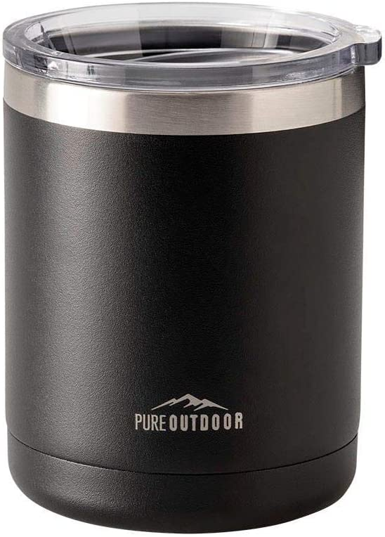 Monoprice Lowball Tumbler - 10 fl. oz. Black, BPA-Free, Sweatproof, 2X Wall Vacuum Insulated - Pure Outdoor Collection