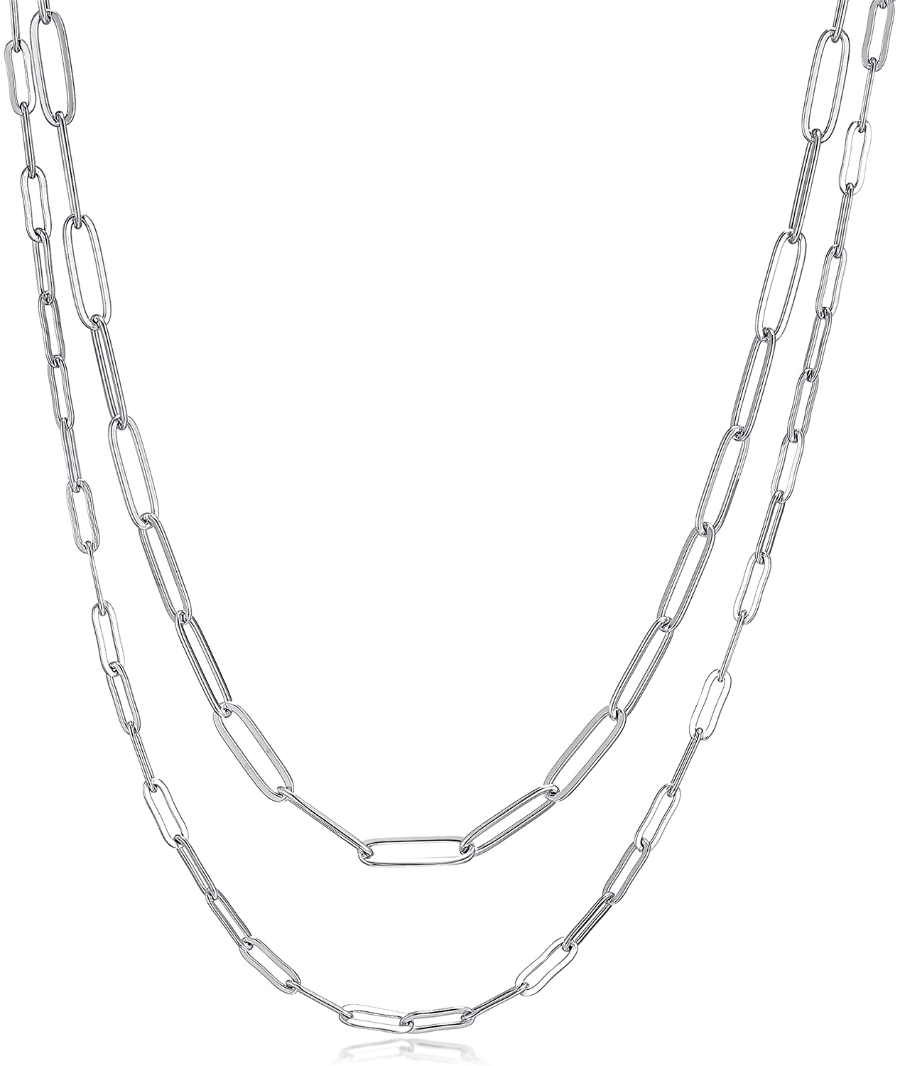 RWQIAN 18k Gold Paperclip Chain Link Necklace Dainty Paperclip Link Chain Layered Necklace Oval Link Chains Initial Necklaces Set for Women Girls (18K Silver Necklace): Clothing