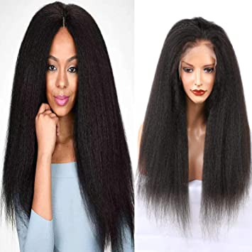 0d548c0d39b Meodi Hair Kinky Straight Lace Wig Brazilian Virgin Hair Free Part Glueless  Lace Front Wig with Baby Hair for...