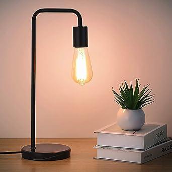 Shinoske Lámpara de escritorio industrial, lámpara de mesa de noche con base de madera para dormitorio, sala de estar, dormitorio, oficina, sin bombilla: Amazon.es: Iluminación