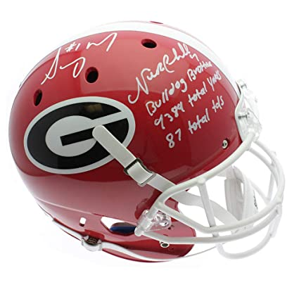 e2f3e4886 Image Unavailable. Image not available for. Color  Nick Chubb Georgia  Bulldogs Autographed Signed Schutt Replica Full Size Helmet ...