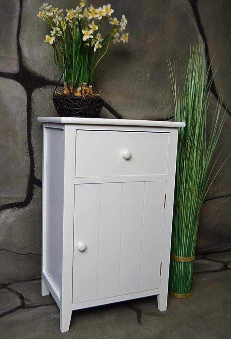 Nachttisch Nachtschrank Kommode Landhaus Shabby Vintage Weiß LV1053