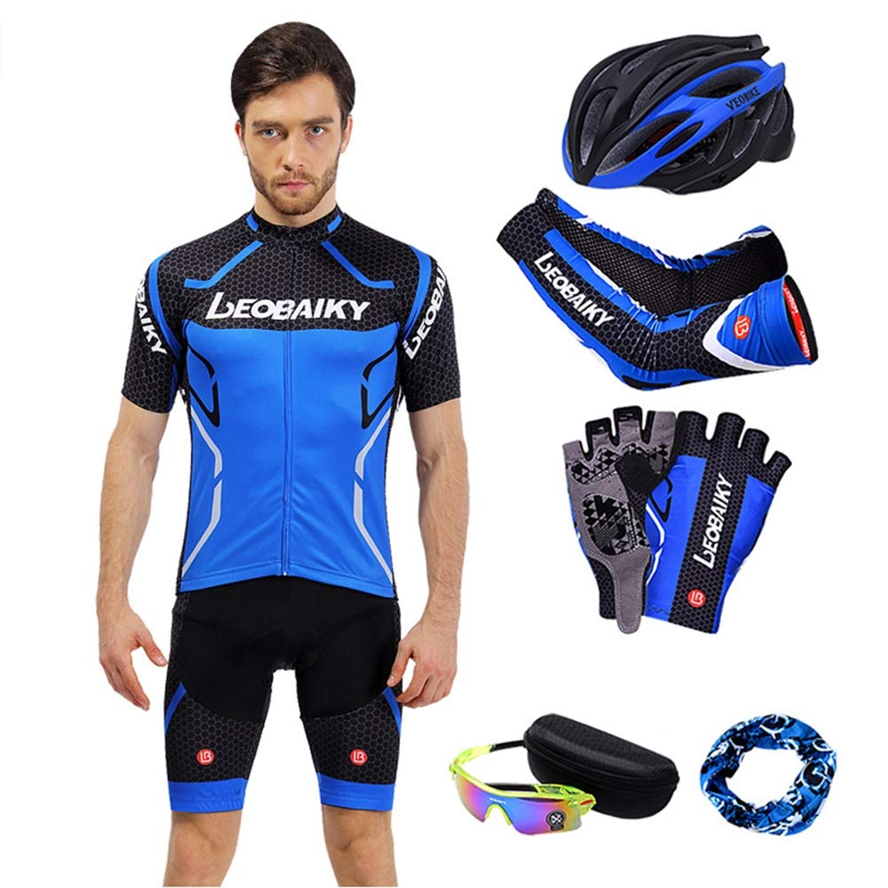 bleu L GNAXY Ensemble de Cyclisme,Maillot,Pantalon,Gant,Foulard,Manche,des Lunettes,Chapeau