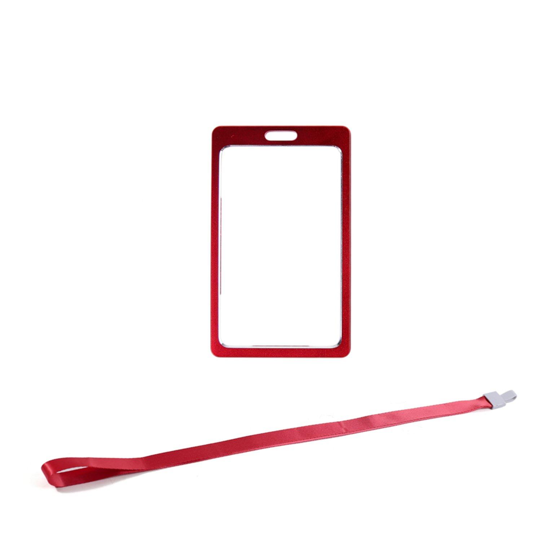 Alluminio porta badge con laccio da collo/tracolla staccabile per carta d' identità , carta di lavoro, targhetta per nome (rosso) SENSONA IQ