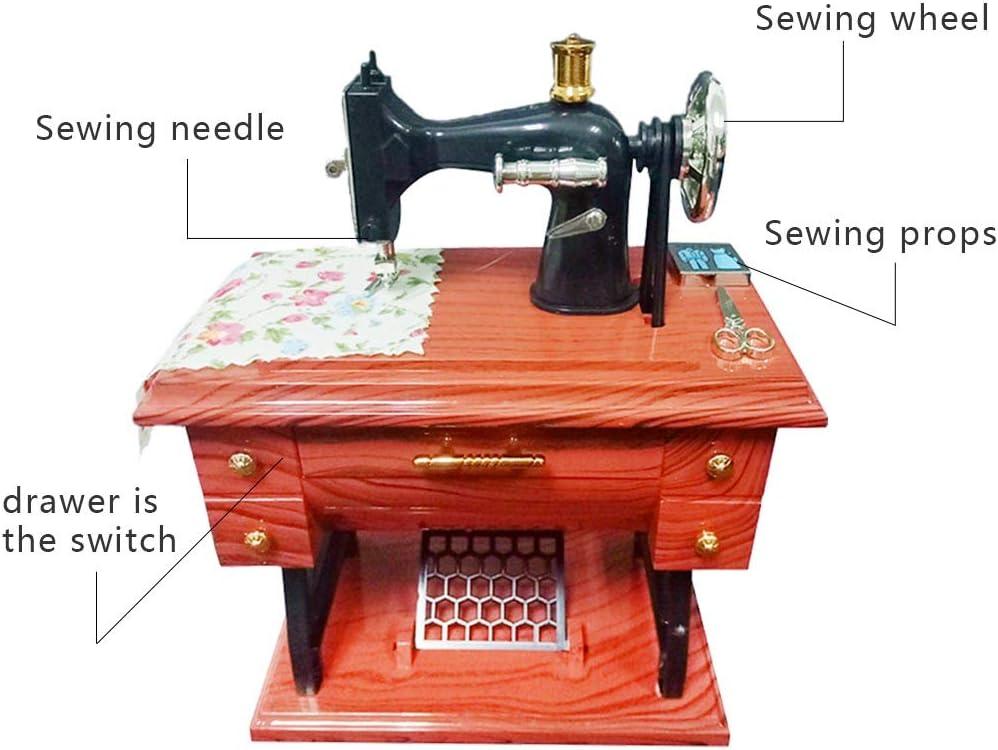 rongweiwang Tabla máquina de Coser Mini Caja de música Retro de Costura Caja de música mecánica Regalo decoración del hogar: Amazon.es: Hogar