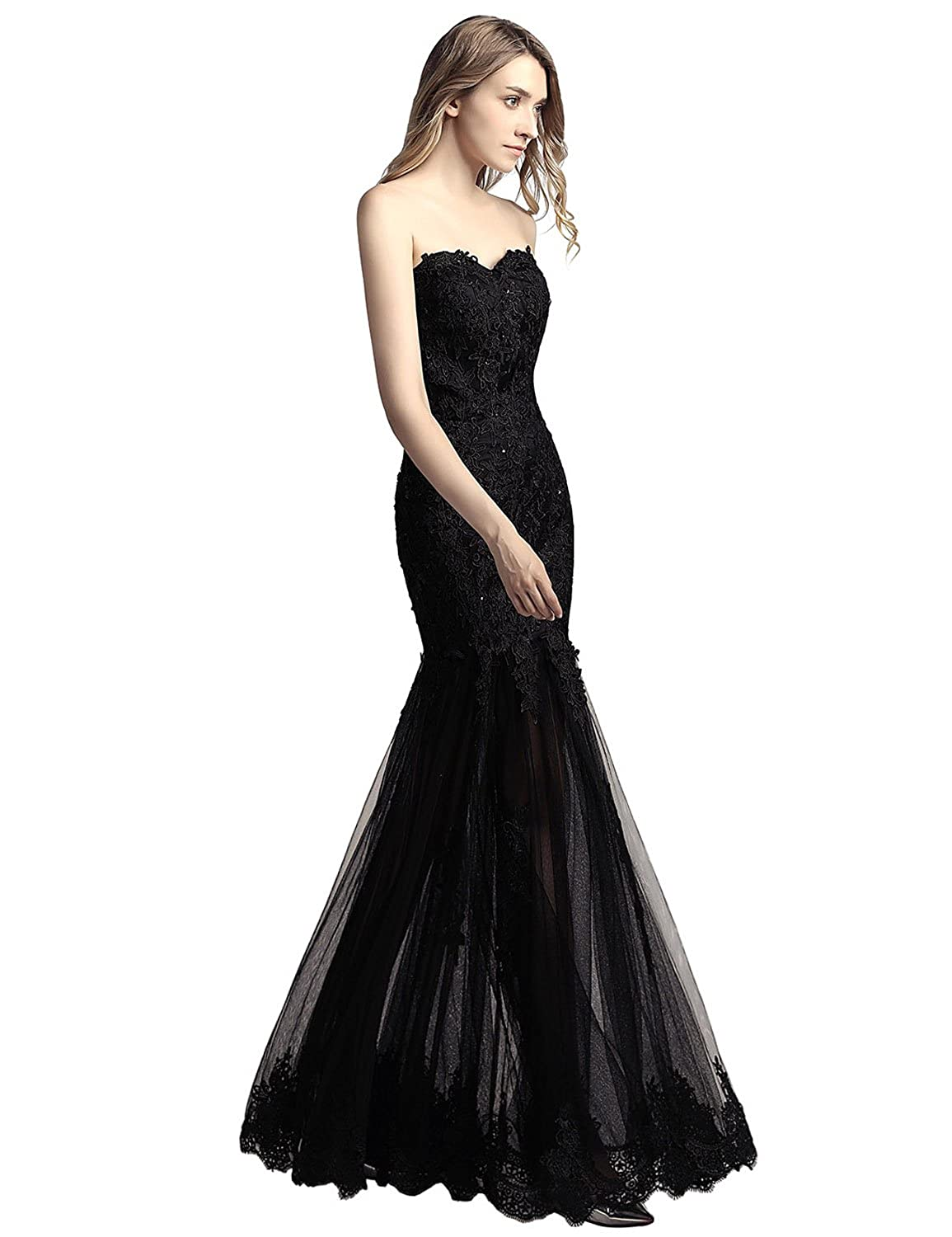 35866d7538eff Amazon.com: Belle House Women's Long Tulle Strapless Ball Gown Lace Formal Evening  Dresses: Clothing