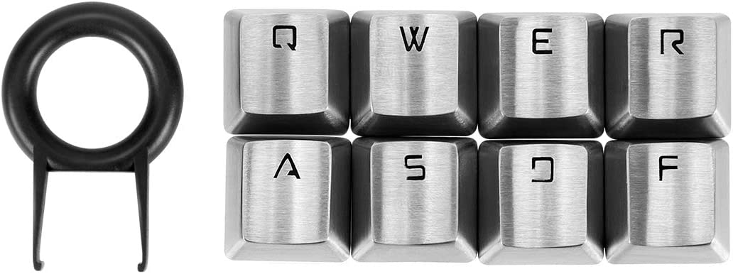 Fitlink FPS & MOBA Gaming Keycaps, WASD Stainless Steel Metal Mechanical Keycap with Key Puller Compatible with Cherry Mx Switch Mechanical Keyboard(QWERASDF,Silver)