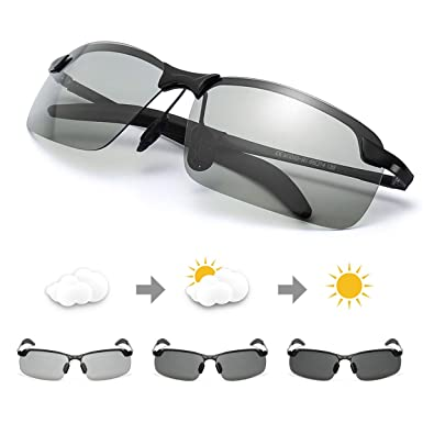 4c848c10df5 TJUTR Men s Photochromic Sunglasses with Polarized Lens for Outdoor 100% UV  Protection