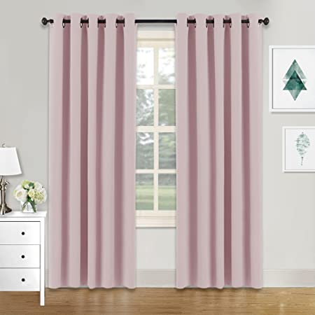 PONYDANCE Window Treatments Blackout Curtains Pink Super Soft Thermal Insulated Room Darkening Solid Eyelet Curtain Draperies