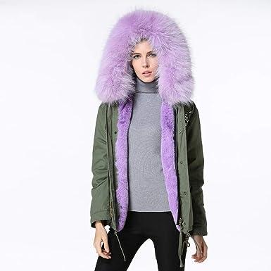 Qifengshop Chaqueta de algodón para Mujer Abrigo de Cuello de Piel ...