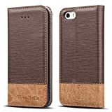 iPhone 5S / SE Case,WenBelle Blazers Series,Stand Feature,Double Layer Shock Absorbing Premium Soft PU Color matching Leather Wallet Cover Flip Cases For apple iPhone SE / 5S 4.0 inch Classic Brown