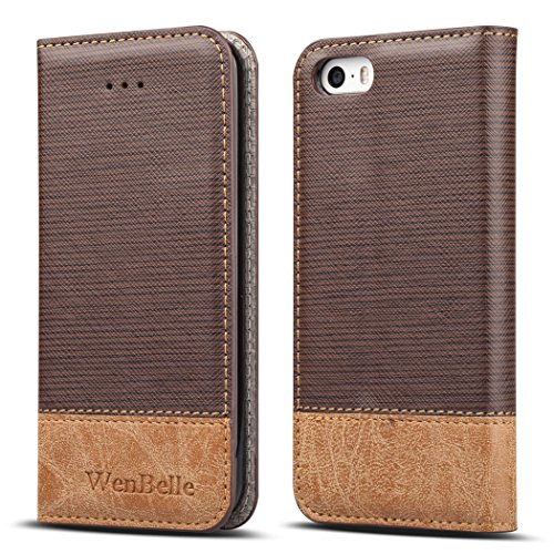 for iPhone 5S / SE Case,WenBelle Blazers Series,Stand Feature,Double Layer Shock Absorbing Premium Soft PU Color Matching Leather Wallet Cover Flip Cases for Apple iPhone SE / 5S 4.0 inch Brown