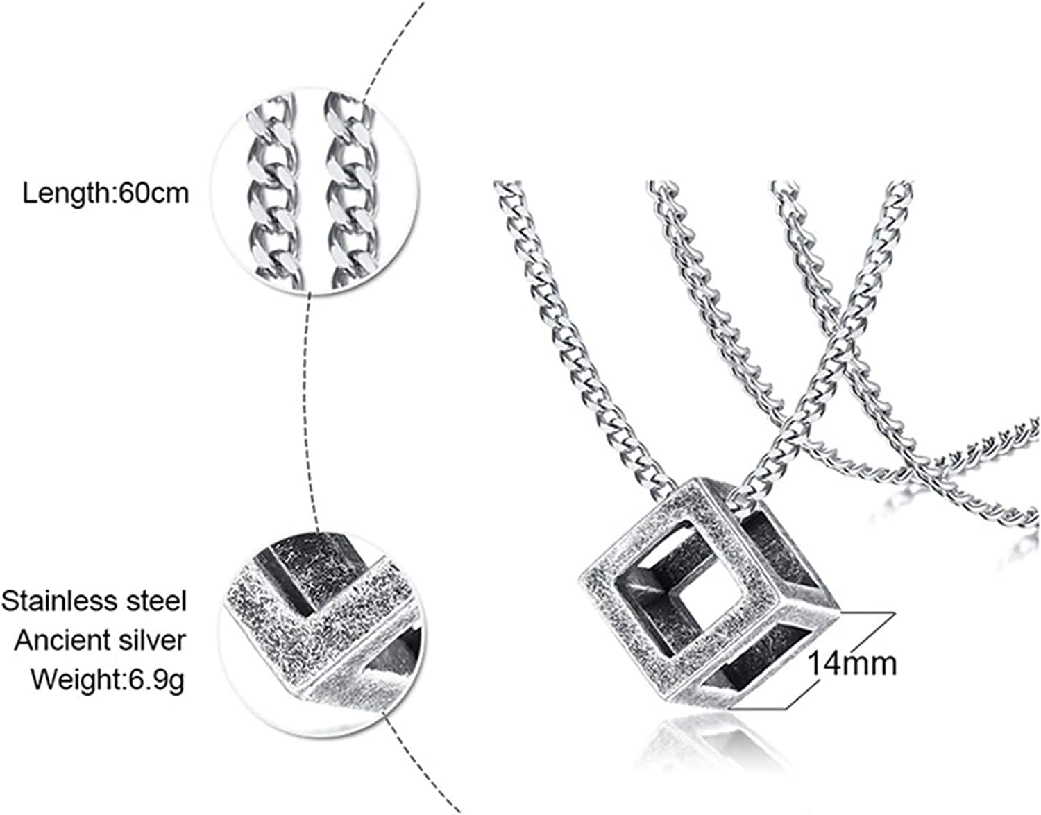 Aokarry Stainless Steel Necklace for Men Hollow Cube Pendant Necklaces