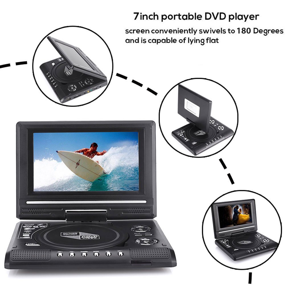 Jiayuane US Plug DVD Player, Portable 7'' HD DVD Player 180° Swivel Screen TV Player Support Game Radio U Disk with Car Headrest Mount Holder