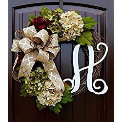 Hydrangea Monogram Wreath with Gold Print Bow and Cream, Ruby Red, and Moss Green Hydrangeas on Grapevine Base-Farmhouse Style