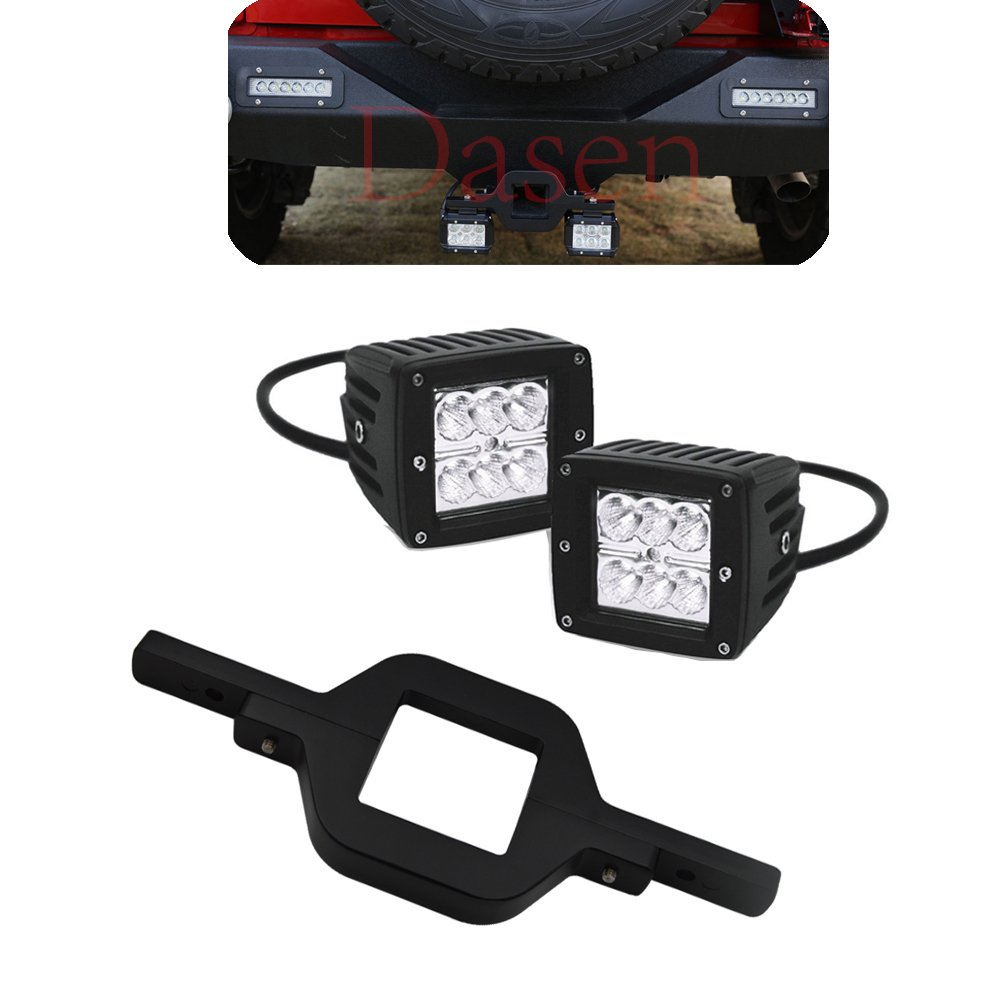 Dasen Tow Hitch Receiver Light Bar Mount Bracket for Dual LED Cube//Work Lights Pod Backup Rear Reverse for Rear Search Lighting Fit Ford Ranger//F150//F250//F350//F450