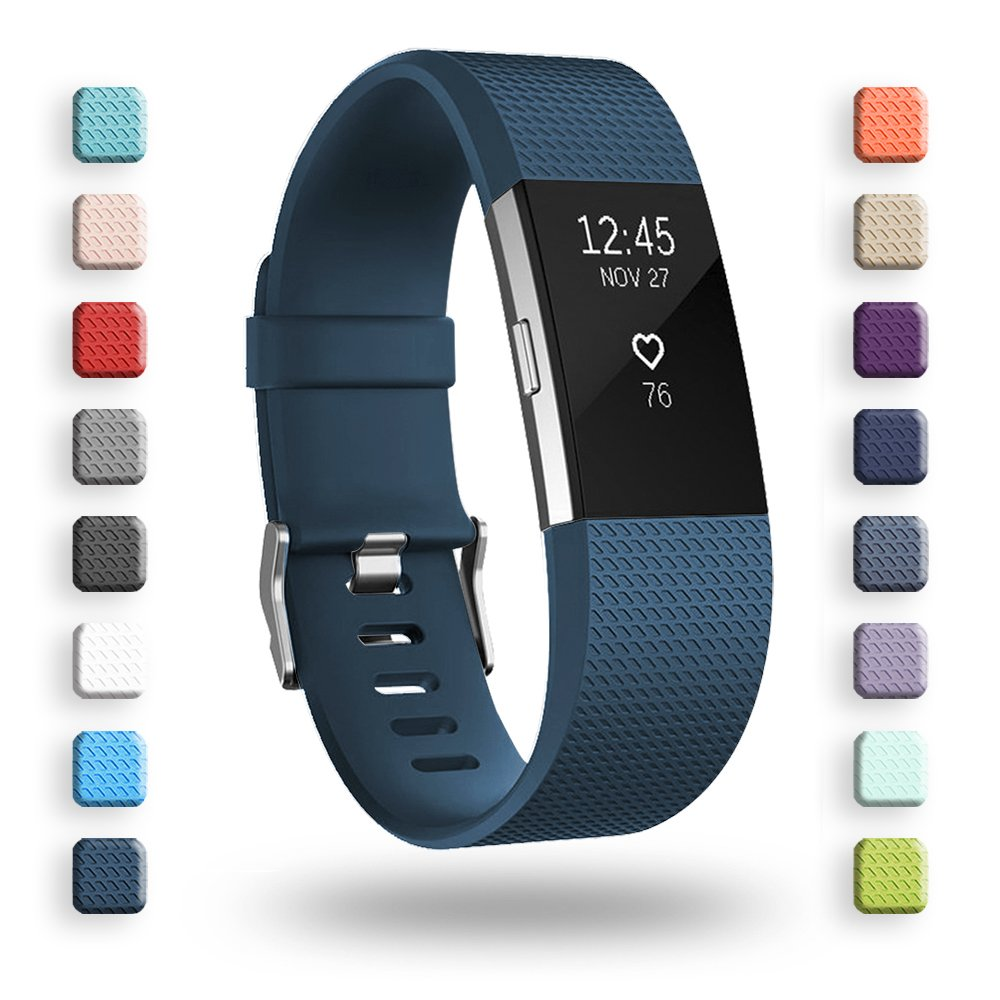 POY Replacement Bands Compatible for Fitbit Charge 2, Classic & Special Edition Sport Wristbands, Dark Blue Small, 1PC
