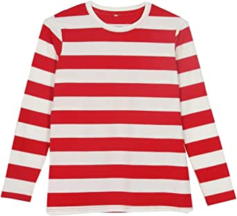 Smile Fish Mens Crew Neck Long Sleeve T-Shirt Striped Tops Christmas Waldo Bee Costumes