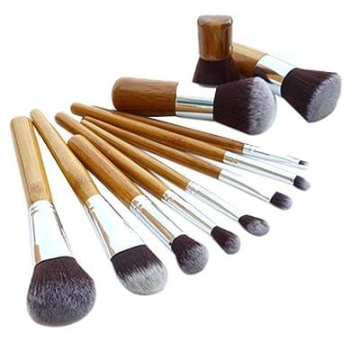 vovotrade 11pcs cepillo de bambú de lino bolsa de belleza herramientas de pincel