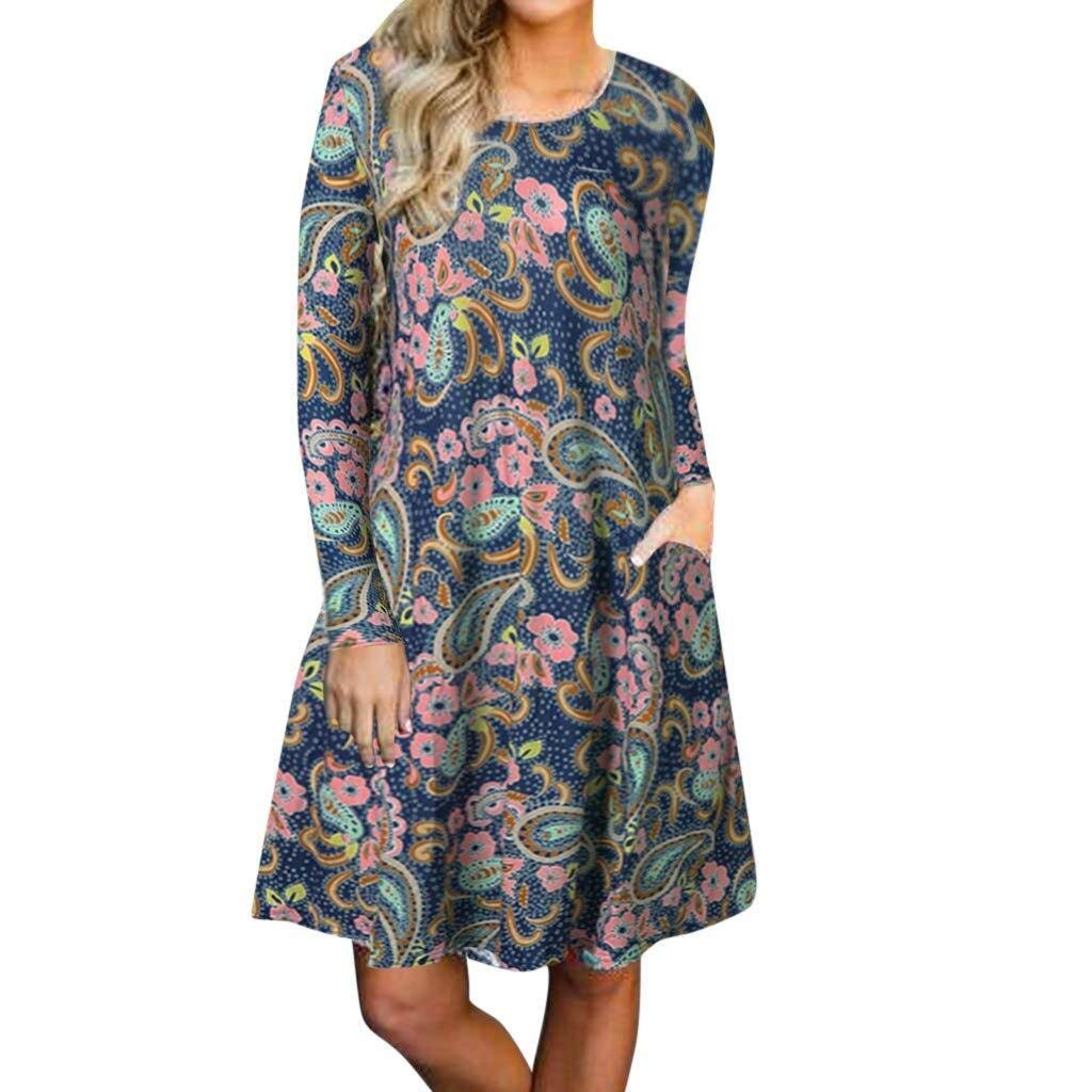 Go-First Women's Vintage Boho Dress Cozy Round Neck Long Sleeve Floral Printing Dress Summer Breathable Leisure Fashionable Short Dress (Color : Multicolor, Size : XL)