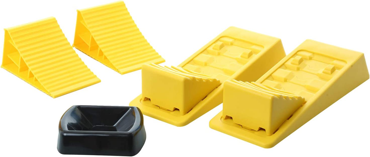 Homeon Wheels Large RV Leveling Blocks 2 Pack and Two Locking Chocks Two Camper Leveling Blocks Wheel Chocks with Handle and Rope One Trailer Jack Wheel Dock One T Level with Carrying Bag Value Pack
