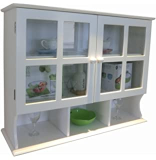 Anself White Wooden Kitchen Wall Cabinet Glass Door Amazoncouk