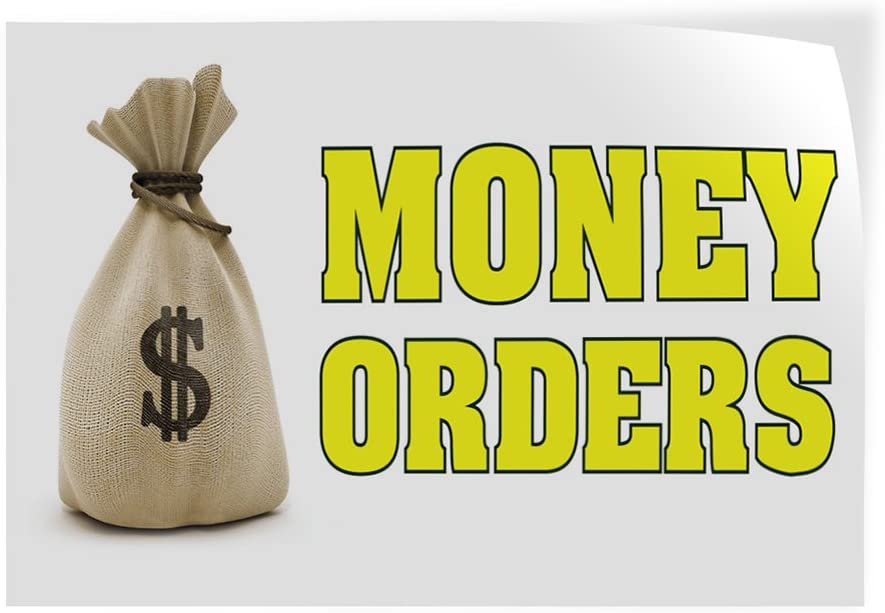 14inx10in Set of 10 Decal Sticker Multiple Sizes Money Orders Business Money Orders Outdoor Store Sign White