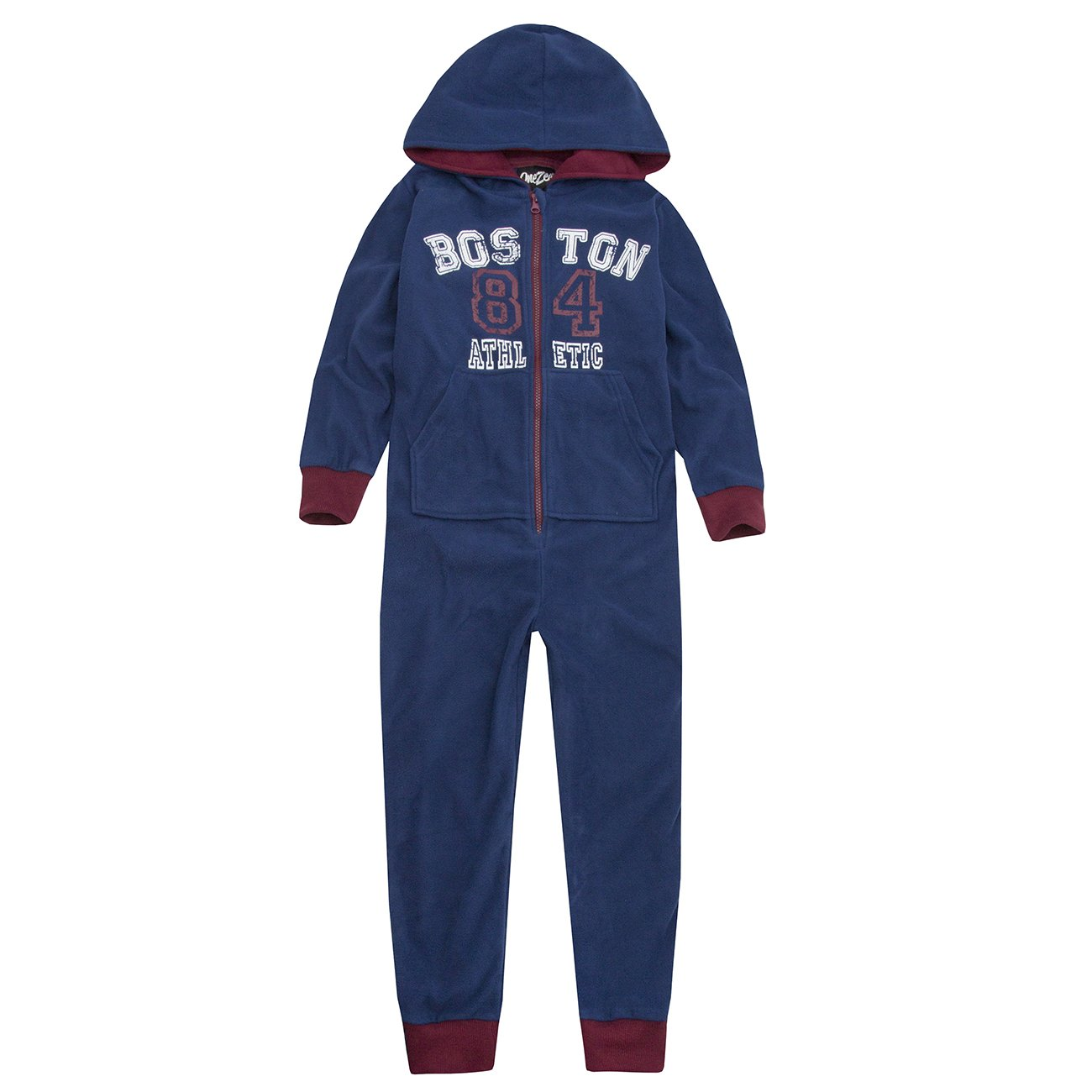Boys Hooded Jumpsuit All in One Fleece Pyjama Sleepsuit Onesee 2 Styles 4 Colour