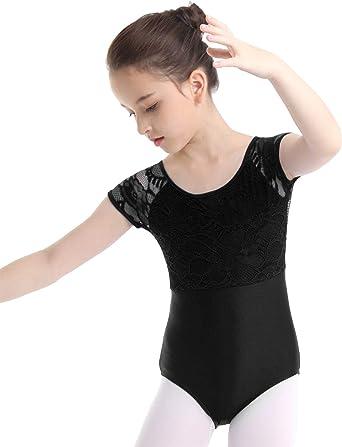 Kids Girls Dance Leotard Ballet Lace Halter Bodysuit Gymnastics Jumpsuit Costume