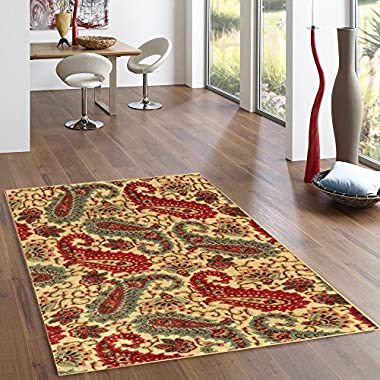 Rubber Backed 3'4  x 5' Paisley Floral Beige Area Non-Slip Rug - Rana Collection Kitchen Dining Living Hallway Bathroom Pet Entry Rugs RAN2012-35