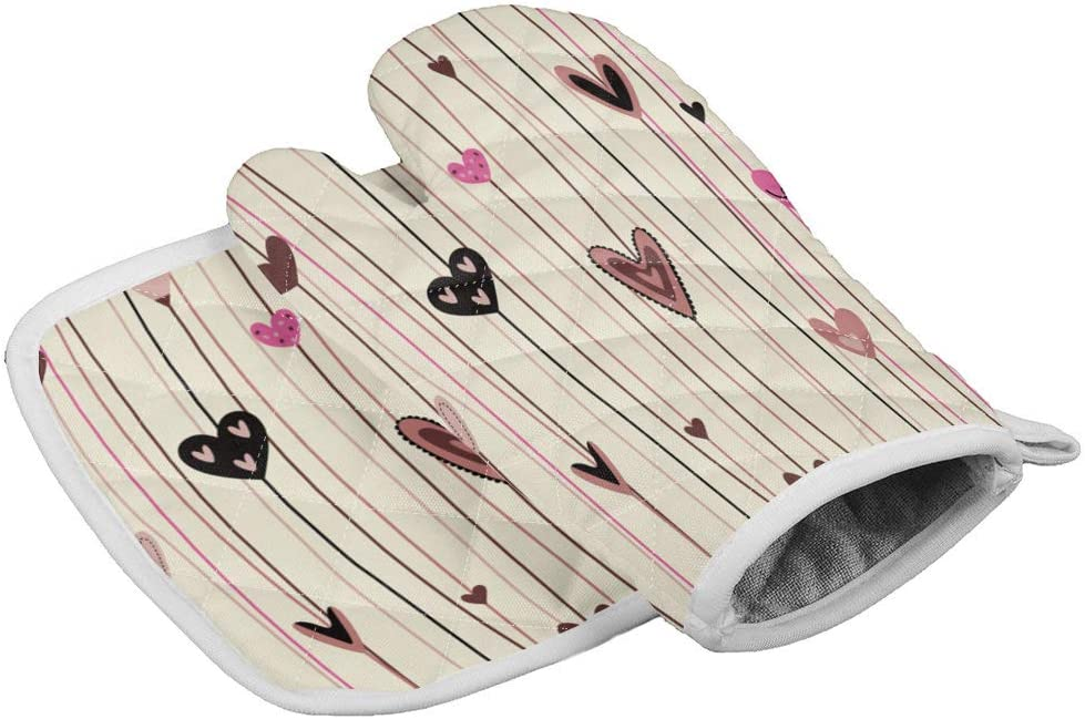 2 Pieces Extra Long Thick Oven Mitts and Pot Holders-Simple Line with Colorful Heart-shaped Pattern,Non-Slip Heat Resistance Cooking Gloves for Home Kitchen BBQ