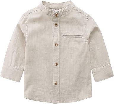 MOMOLAND Camisa de Manga Larga para niños pequeños con Cuello de Mandarina de algodón y Botones de Lino - Beige - 6 años: Amazon.es: Ropa y accesorios