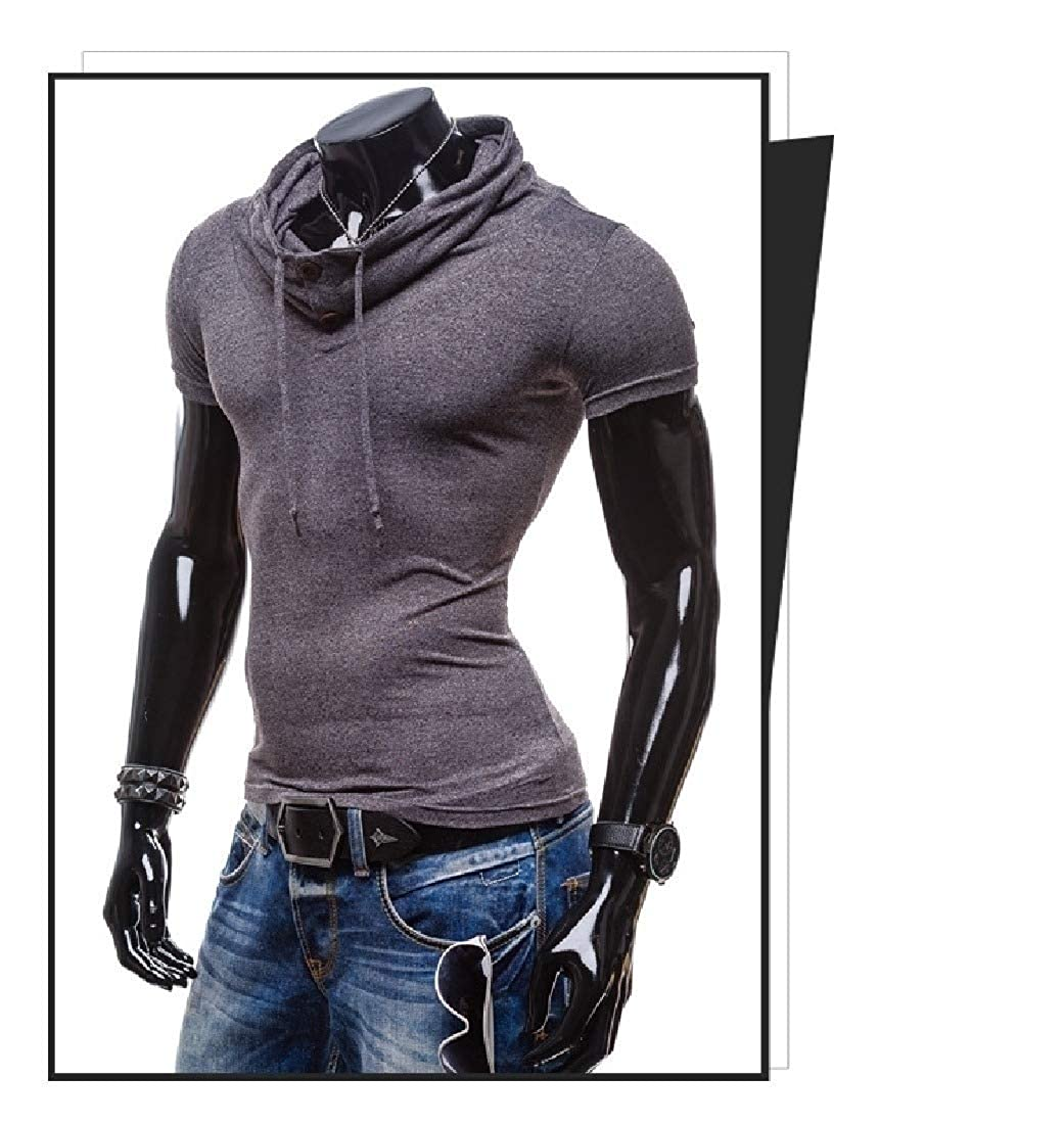 Abetteric Mens Cowl Neck Pure Colour Short-Sleeve Oversize Tees Pullover Top